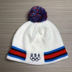 Nike USA Olympics White Pom Fleece Beanie Hat